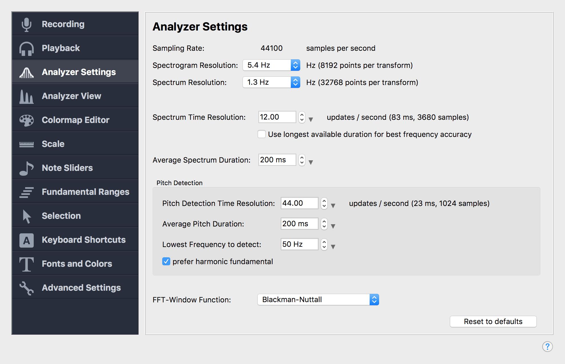 Analyzer Settings