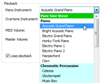 Piano and Overtone Instruments