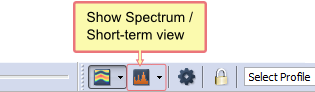 "Click ""Spectrum"" button to bring up secondary view"