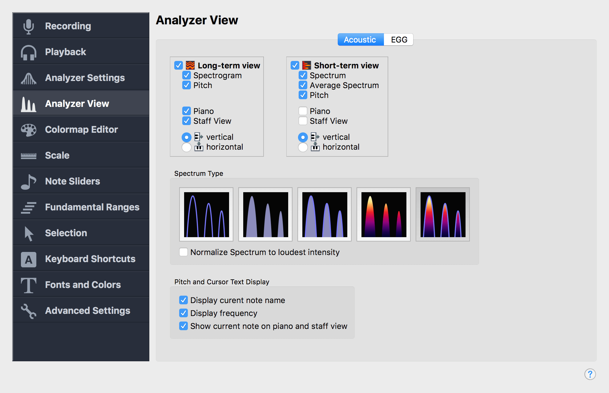 Analyzer View Settings