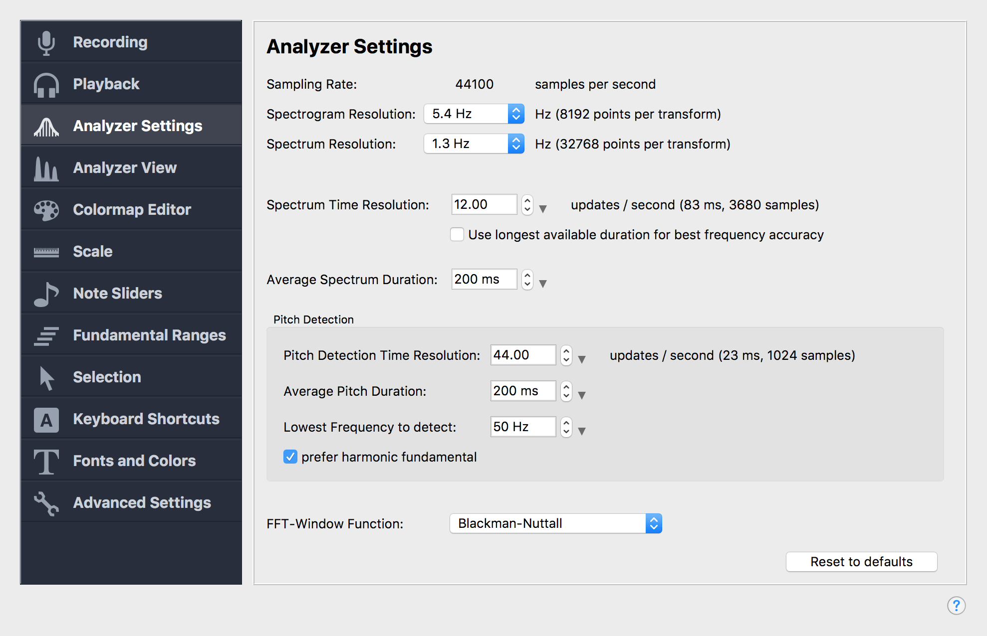 Analyzer Settings